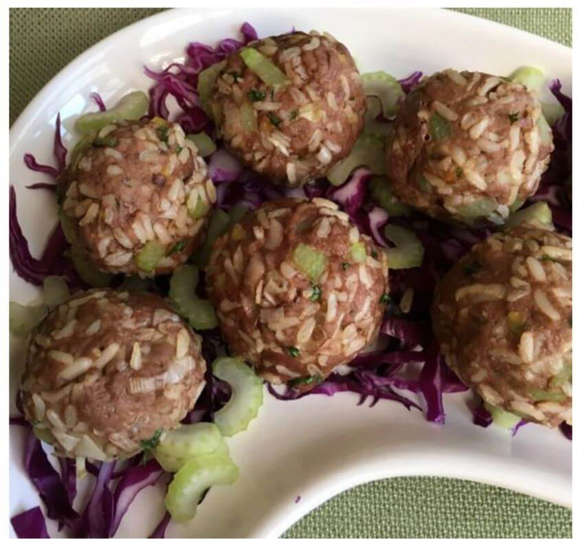 Beef & Brown rice balls - Gluten free Nutrition